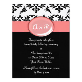 Black White Damask with Pink Wedding Response Card 11 Cm X 14 Cm Invitation Card
