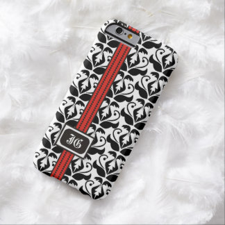 Black white damask with red band and monogram barely there iPhone 6 case