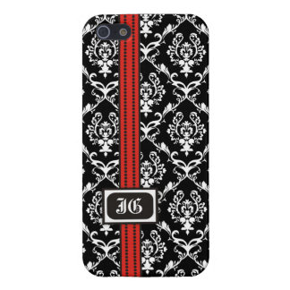 Black white damask with red band and monogram iPhone 5/5S cover