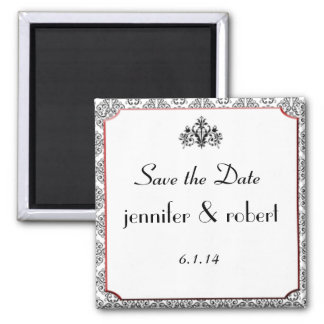 Black White Damask with Red Save the Date Magnet