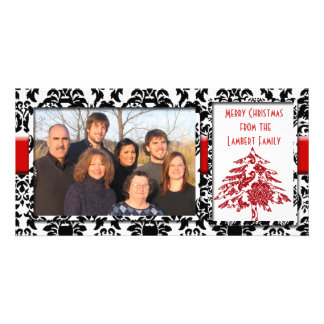 Black & White Damask With Red Tree Merry Christmas Card