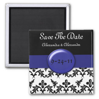 Black White Damask WIth Royal Blue Save The Date Square Magnet