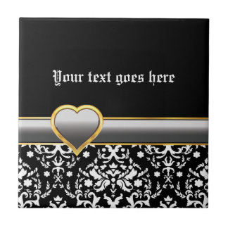 Black white damask with silver grey band and heart small square tile