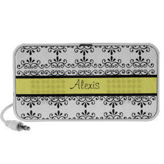 Black & White damask with Yellow Travel Speakers