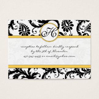 Black White Damask Yellow Trim Wedding Website Business Card