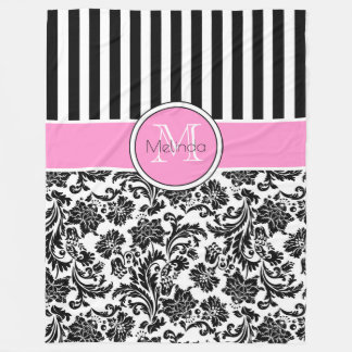 Black & White Damasks & Stripes Monogram Fleece Blanket