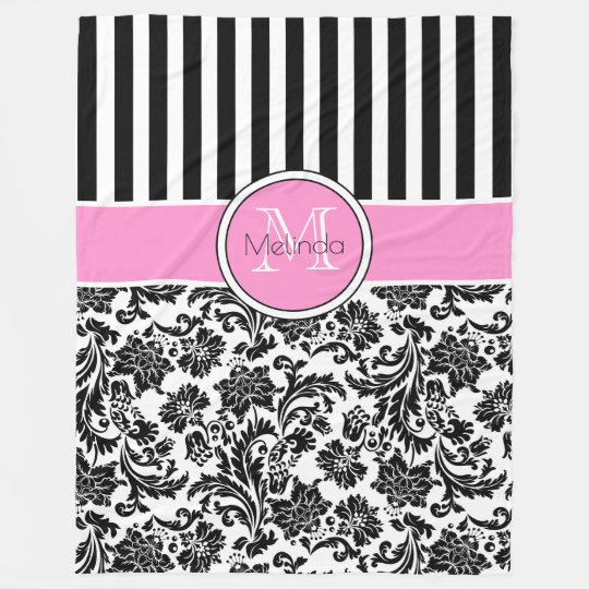 Black & White Damasks & Stripes Monogram Fleece
