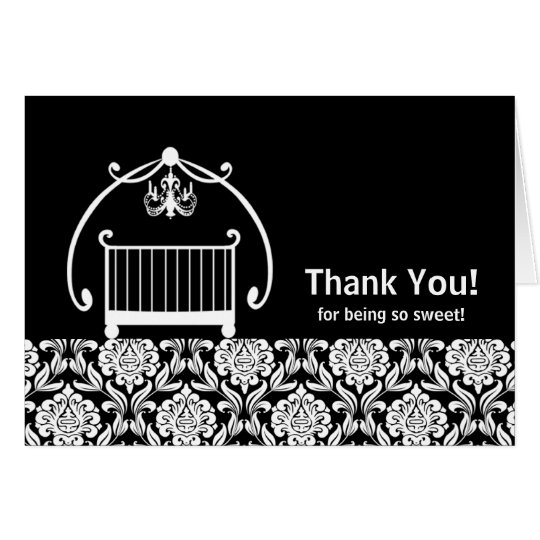 Black & White Damsask Crib Thank You Note Card