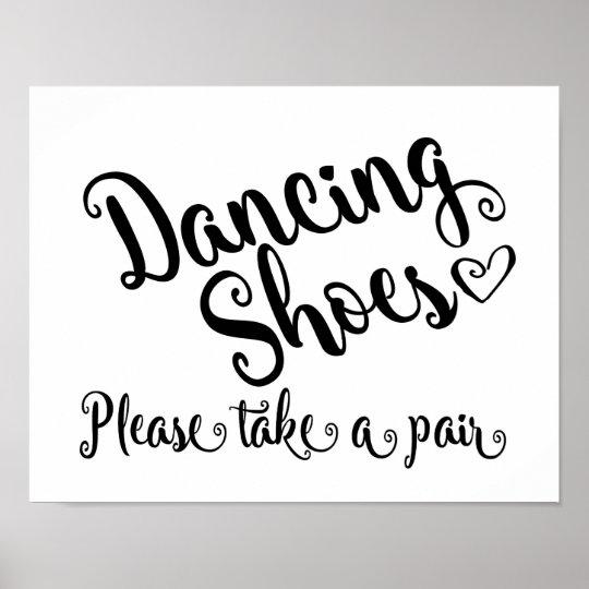 Black & white Dancing shoes wedding sign print