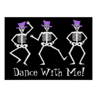 Black White Dancing Skeletons Happy Halloween Poster
