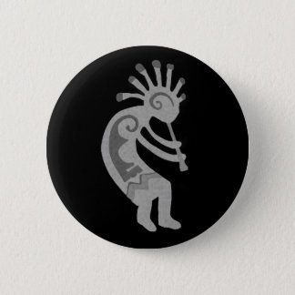 Black White Dancing Southwest Kokopelli 6 Cm Round Badge
