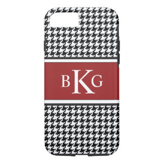 Black White Dark Red Houndstooth Pattern iPhone 8/7 Case