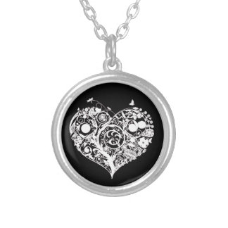 Black & White Decorative Heart Necklace