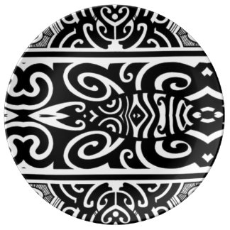 Black white designer tribal porcelain plate