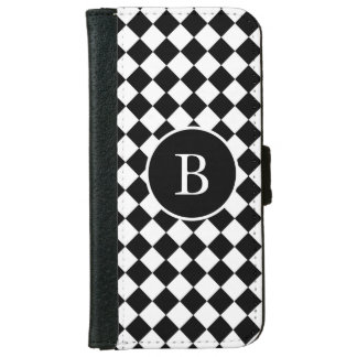 Black White Diagonal Checkered Squares Personalize iPhone 6 Wallet Case