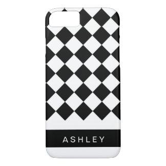 Black White Diagonal Checkered Squares Personalize iPhone 7 Case