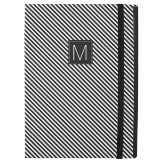 "Black & White Diagonal Stripe Monogram iPad Pro 12.9"" Case"