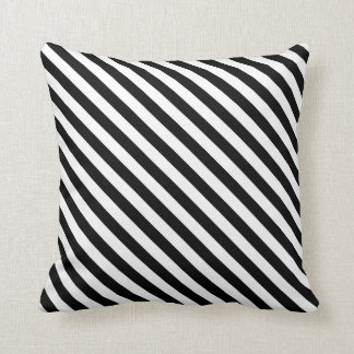 Black White Diagonal Stripes Design Cushion