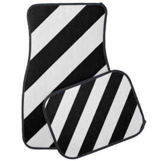 Black & White Diagonal Stripes Floor Mat