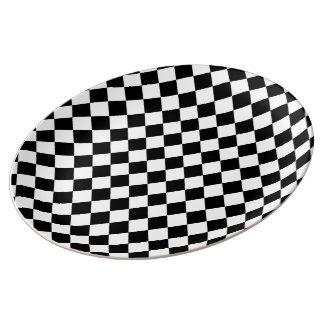 Black White Diamond Checkerboard Plate
