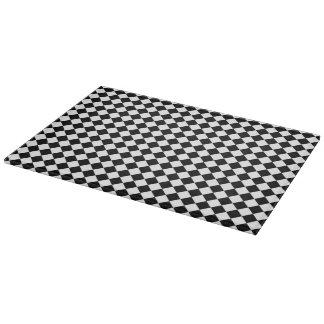 Black White Diamond Checkers Cutting Board