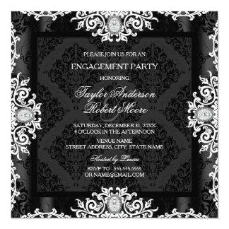 Black & White Diamond Damask Engagement Party Card
