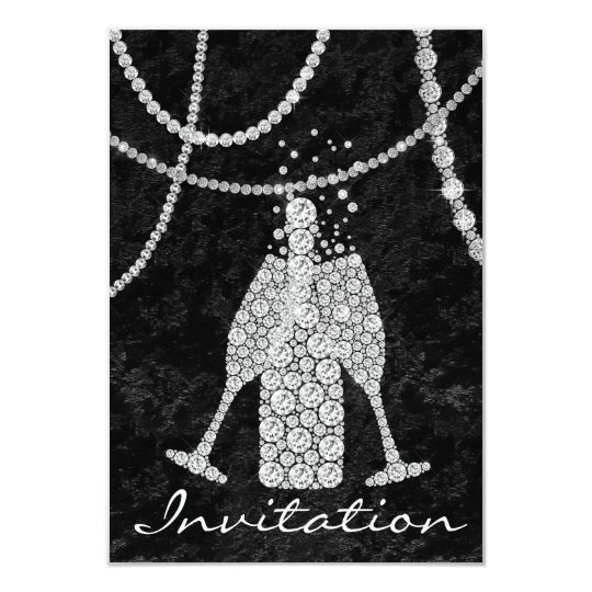 Black White Diamond Glass Bubbles Champagne Bottle Card