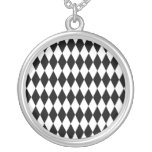 Black & White Diamond Harlequin Pattern Necklaces