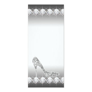 Black White Diamond High Heel Shoe Birthday Party 10 Cm X 24 Cm Invitation Card