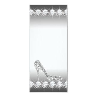 Black White Diamond High Heel Shoe Birthday Party 10 Cm X 24 Cm Invitation Card