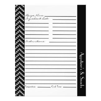 Black White Diamond Zigzag Chevrons Recipe Sheets 21.5 Cm X 28 Cm Flyer