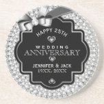 Black & White Diamonds 25th Wedding Anniversary Drink Coasters