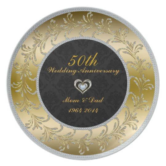 Black & White Diamonds 50th Wedding Anniversary Plate