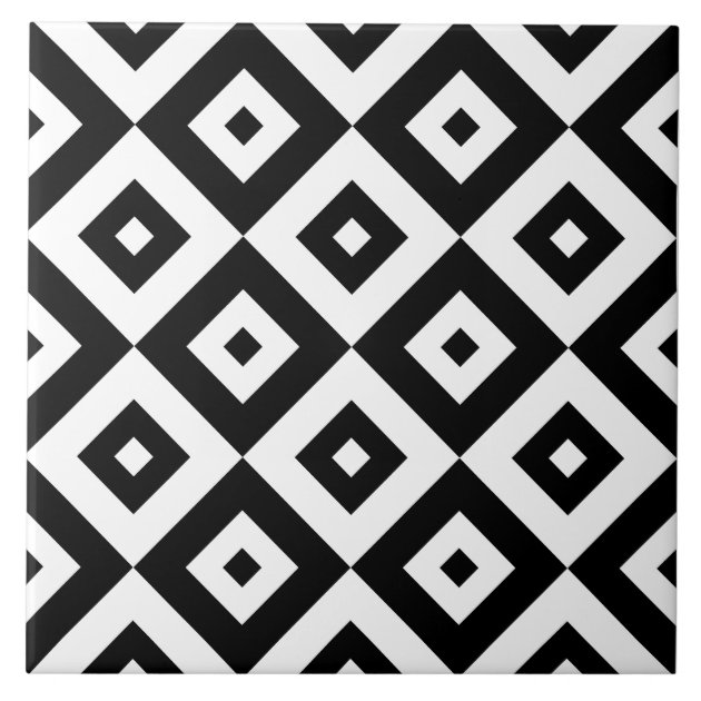 Black & White Diamonds Pattern | Ceramic Tile | Zazzle.co.uk