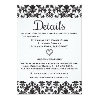 Black & White Directions Details Floral Damask 11 Cm X 16 Cm Invitation Card