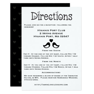 Black & White Directions, Details Lovebirds Hearts Card