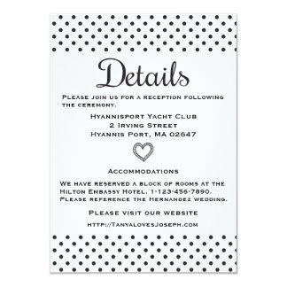 Black & White Directions Details Polka Dots 11 Cm X 16 Cm Invitation Card