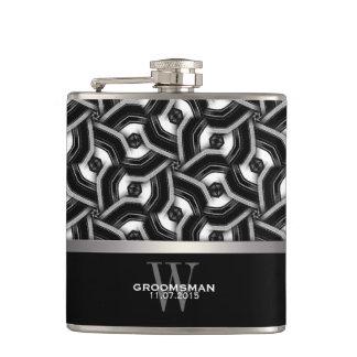 Black White Disc Pattern Groomsmen Gift Hip Fla Hip Flasks