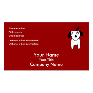 Black & White Dog -red/orange -bus card template Pack Of Standard Business Cards