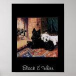 Black & White Dogs Vintage Poster