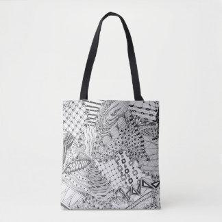 Black & White Doodle, Tangled Original Drawing Tote Bag