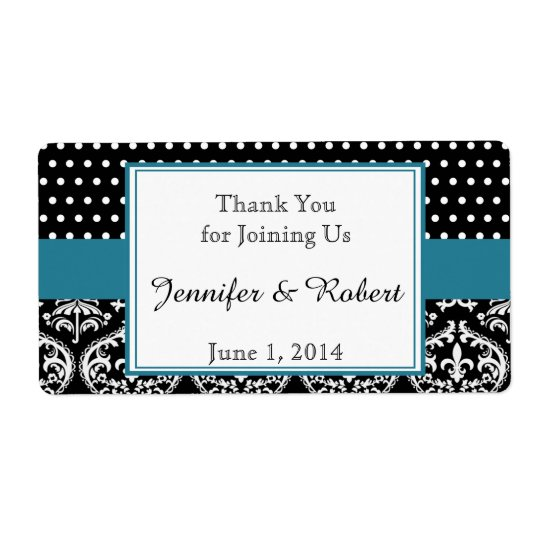 Black White Dots and Damask Water Bottle Label Shipping Label