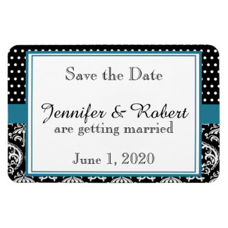 Black White Dots and Damask Wedding Save the Date Rectangular Photo Magnet