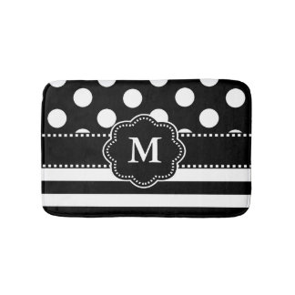 Black White Dots Stripe Monogram Bath Mats