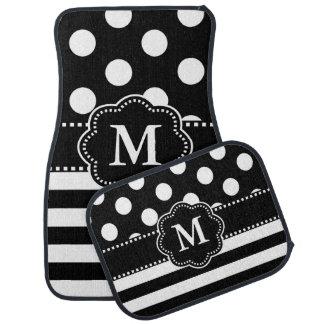 Black White Dots Stripe Monogram Floor Mat
