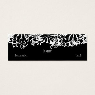 Black & White Dotted Flowers Skinny Business Card