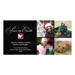 Black white dove peace on earth holiday greeting photo greeting card