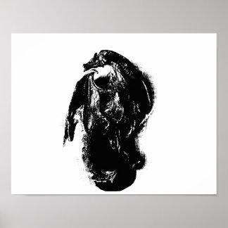Black & White Dragon Poster