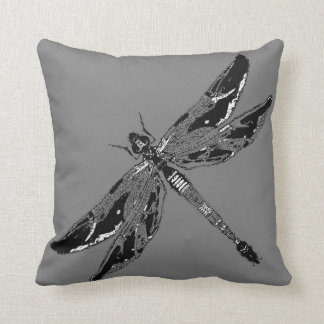 Black & White Dragonfly Grey Pillow By Sharles