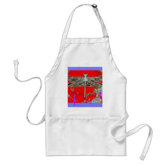 Black-white Dragonfly on red-purple by Sharles Aprons